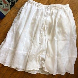 Antrhopologie White Linen Skirt